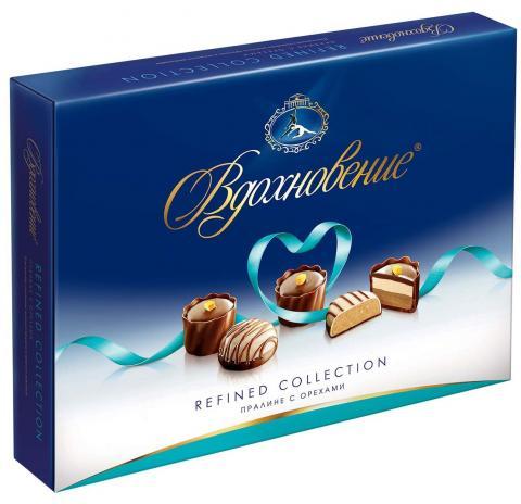Конфеты в коробке Вдохновение Refined Collection, пралине с орехами, Красный Октябрь, 170 г