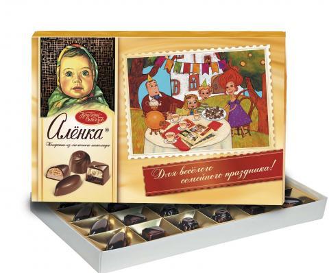 Конфеты в коробке Алёнка из молочного шоколада, Красный Октябрь,185 г