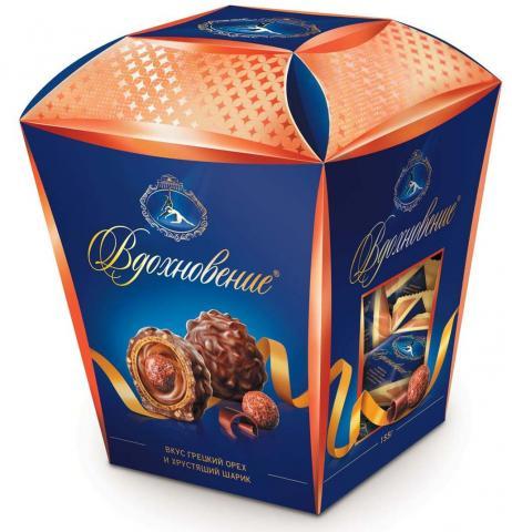 Конфеты в коробке Вдохновение со вкусом грецкого ореха и хрустящим шариком, 155 г